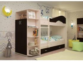 Двухъярусная кровать Мая с ящиками и шкафом дуб млечный-венге
