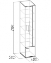 Гостиная Берлин Венге 10 Шкаф для книг 400х590х2101