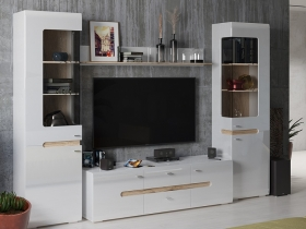 Гостиная модульная Квадро Дуб Делано-Белый глянец