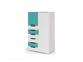 Комод-шкаф Миа КМ-053 Белый-бирюза