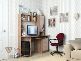 Компьютерный стол СВ-6 Британия Ясень Шимо темный - Ясень Шимо светлый