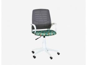 Кресло детское Ирис White сетка W-02 серая-Т58 мячики на зеленом