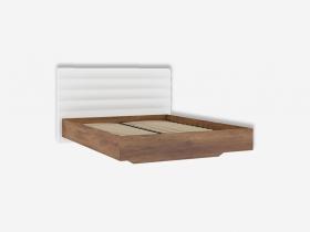 Кровать 1600 с мягкой спинкой с основанием Джолин ПМ 245.10.03 кожзам белый