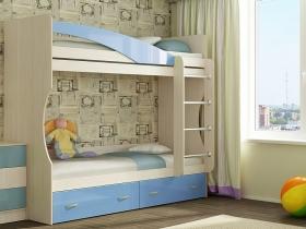 Кровать 2-х ярусная Командор дуб беленый-голубой