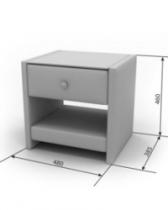 Кровать Агата Тумба Элегия 480х360х460 столешница — стекло один ящик