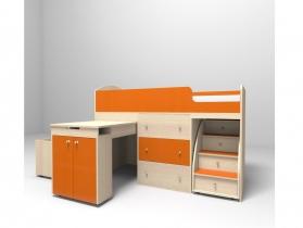 Кровать-чердак Малыш оранж-дуб