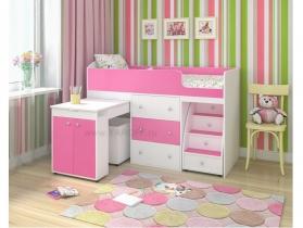 Кровать-чердак Малыш розовый-белое дерево