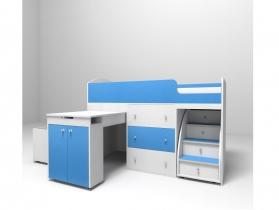Кровать-чердак Малыш синий-белое дерево