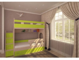 Кровать двухъярусная Юниор 1 дуб-лайм