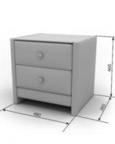 Кровать Космо Тумба Элегия 2 480х360х460 столешница — стекло два ящика