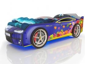 Кровать-машинка Kiddy синий пазл