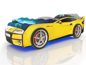 Кровать-машинка Kiddy желтая