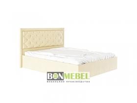 Кровать Мишель 1600 с ПМ стразы кожзам бежевый