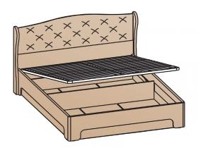 Кровать с подъемным ортопедическим основанием КРП-1703 Эйми МДФ Бодега белая-патина Серебро