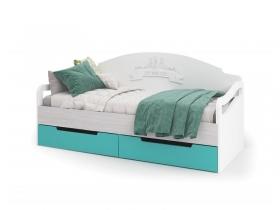 Кровать с ящиками Миа КР-051 Белый-бирюза