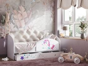 Кровать Звездочка с бортиком бежевый