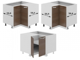 Кухня Бьюти Шкаф нижний угловой с углом 90 НУ90-72-2ДР_НУ 822х900х900мм
