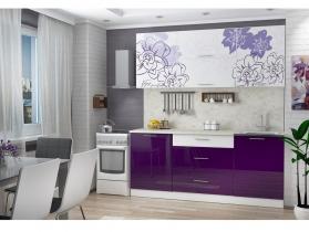 Кухонный гарнитур Бордо-виолет 1600 белый-баклажан