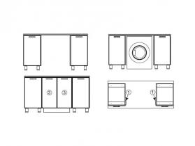 Модуль для установки стиральной машины под общую столешницу МС600 600х716х116 Модерн