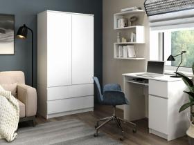 Шкаф 2-х дверный с ящиками Мори МШ 900.1 Белый