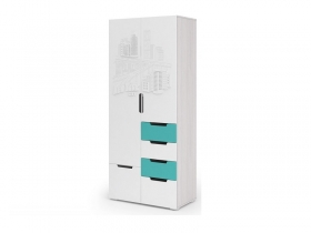 Шкаф 2-х створчатый Миа ШК-052 Белый-бирюза