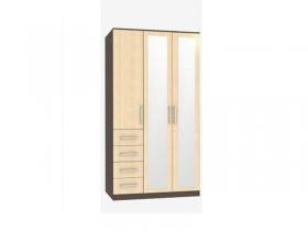 Шкаф 3-х дверный с ящиками Трио-1 с зеркалом венге-дуб беленый