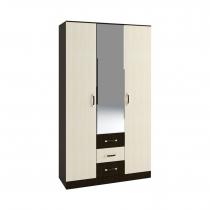 Шкаф 3-х створчатый с зеркалом Ронда ШКР1200.2 Венге-Дуб белфорт