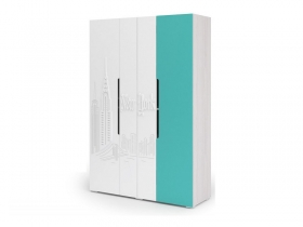 Шкаф 4-х створчатый Миа ШК-054 Белый-бирюза