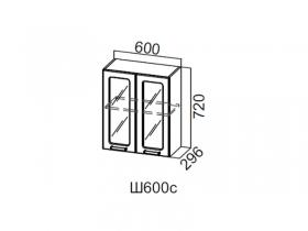 Шкаф навесной со стеклом 600 Ш600с 720х600х296мм Модерн