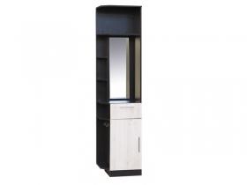 Шкаф-пенал с зеркалом Прага П-5 Венге-Дуб молочный