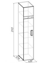 Спальня Гипер Шкаф для белья 1 Лев-Прав 400х579х2113 с фасадом в цвете Палисандр