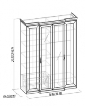 Спальня Монпелье Шкаф для одежды и белья 1 1684х560-633х2252