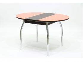 Стол круглый раздвижной со стеклом Гала 3 Венге оранжевый