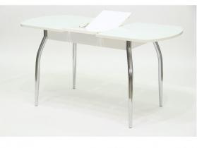 Стол обеденный раздвижной со стеклом Гала 1 лдсп белое - стекло белое