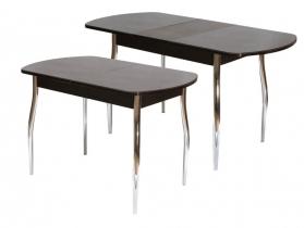 Стол обеденный раздвижной со стеклом Гала 1 лдсп венге - стекло темно-коричневое