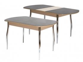 Стол обеденный раздвижной со стеклом Гала 2 лдсп дуб - стекло темно-коричневое