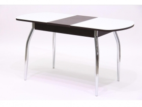 Стол обеденный раздвижной со стеклом Гала 2 лдсп венге - стекло белое