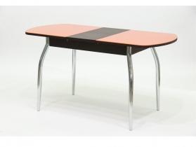 Стол обеденный раздвижной со стеклом Гала 2 лдсп венге - стекло оранжевое