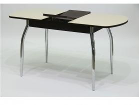 Стол обеденный раздвижной со стеклом Гала 2 лдсп венге - стекло песочное