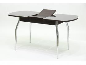 Стол обеденный раздвижной со стеклом Гала 2 лдсп венге - стекло темно-коричневое