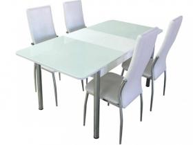 Стол обеденный раздвижной со стеклом Лорд белый