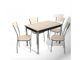 Стол обеденный раздвижной со стеклом Орфей бежевый