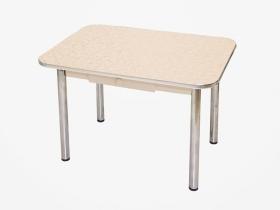 Стол обеденный с ящиком Маэстро бежевые цветы-дуб