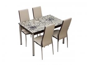 Стол обеденный со стеклом Глория Шоколадно-бежевый