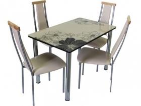 Стол обеденный со стеклом Линда Шоколадно-бежевый