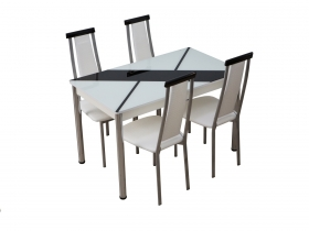 Стол обеденный со стеклом Маэстро черно-белый