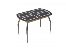 Стол обеденный со стеклом раздвижной Голд коричнево-бежевый