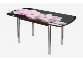 Стол раздвижной Бостон-3 Розовая Орхидея ЛДСП Венге Брифинг Хром