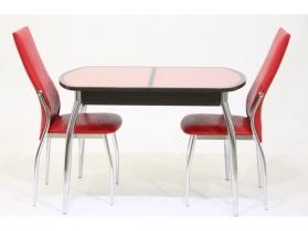 Стол раздвижной с красной кожей под стеклом Гала 14