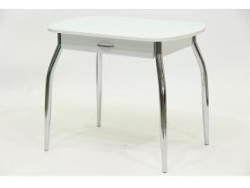 Стол со стеклом Гала 10 с ящиком белый